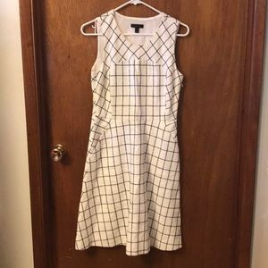 J. Crew White windowpane boucle midi dress 6